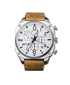 AVI-8 Men's Japanese Quartz Chronograph Hawker Hunter Retrograde Edition, AV-4052-01, Brown Leather Strap Watch 45mm