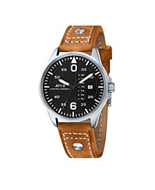 Men's Japanese Quartz Hawker Harrier II, AV-4003-02, Brown Leather Strap Watch 45mm