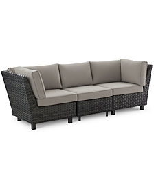 Lake Toba Aluminum Outdoor 3-Pc. Sectional Seating Set (2 Corner Units & 1 Armless Middle Unit), Created for Macy's