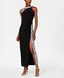MSK Petite Animal-Print Halter Gown