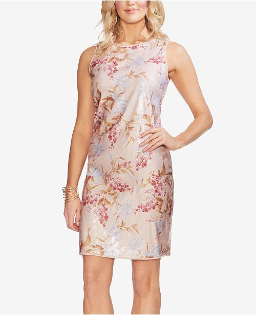 Vince Camuto Sequined Floral-Print Sheath Dress