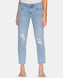 Cropped Light Indigo Ripped Jeans