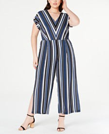 Monteau Juniors' Trendy Plus Size Striped Jumpsuit