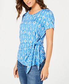 Style & Co Petite Printed Tie-Front Top, Created for Macy's