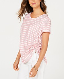 Style & Co Striped Side-Ruched Top, Created for Macy's