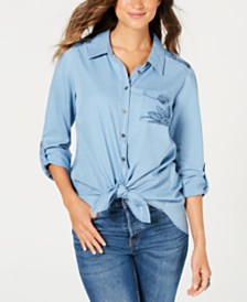Style & Co Sketched Patches Tie-Front Cotton Top, Created for Macy's