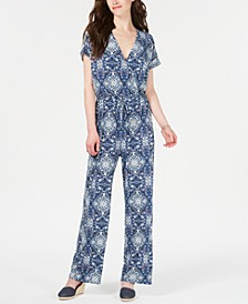 V-Neck Printed Knit Jumpsuit, Created for Macy's