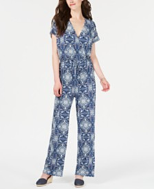 Style & Co V-Neck Printed Knit Jumpsuit, Created for Macy's