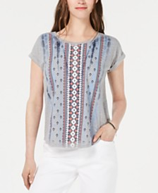 Style & Co Petite Printed Scoop-Neck Top, Created for Macy's