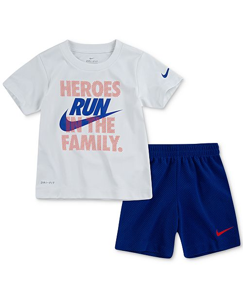 Nike Toddler Boys 2-Pc. Dri-FIT Heroes Graphic T-Shirt & Shorts Set