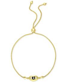 Enamel Evil Eye Bolo Bracelet in 10k Gold