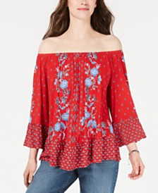 Style & Co Petite Printed Off-The-Shoulder Top, Created for Macy's