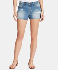 WILLIAM RAST Ripped High-Rise Denim Shorts