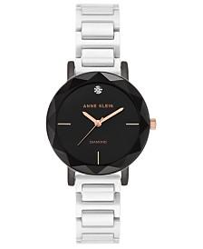 Anne Klein Women's White Diamond-Accent White Ceramic Bracelet Watch 32mm