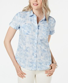 Tommy Hilfiger Cotton Tie-Dye Button-Up Camp Shirt, Created for Macy's