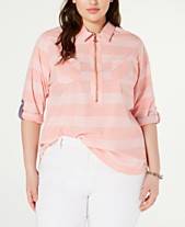 976f13bd Tommy Hilfiger Plus Size Cotton Striped Utility Shirt, Created for Macy's