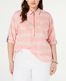 Tommy Hilfiger Plus Size Cotton Striped Utility Shirt, Created for Macy's