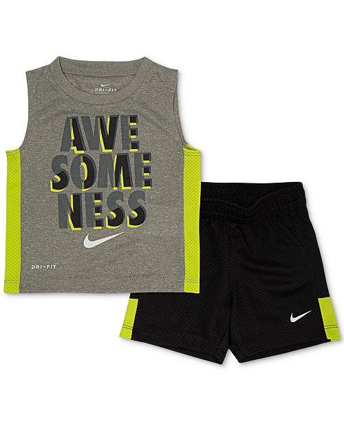 Nike Toddler Boys 2-Pc. Dri-FIT Awesomeness Graphic Muscle Shirt & Mesh Shorts Set