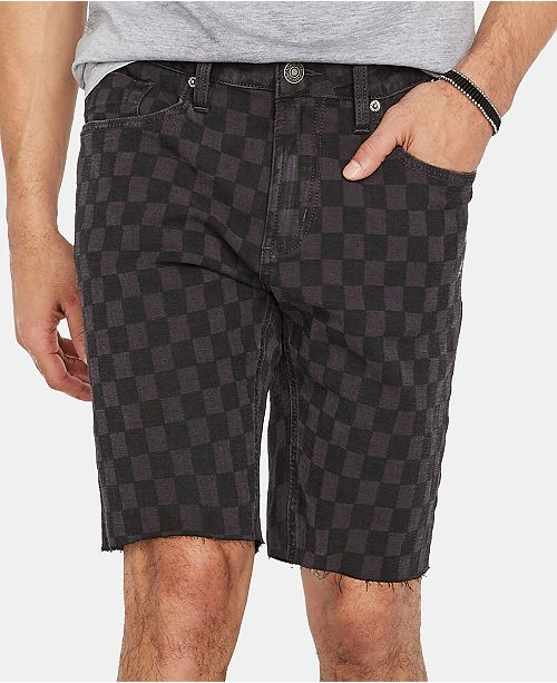 Buffalo David Bitton Men's Parker-X Regular-Fit Stretch Checker Cutoff Shorts