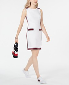 Tommy Hilfiger Tape-Embellished Sleeveless Dress, Created for Macy's