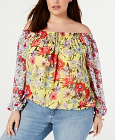 I.N.C. Plus Size Floral Off-The-Shoulder Top, Created for Macy's
