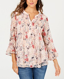 Charter Club Petite Double-Ruffle Top, Created for Macy's