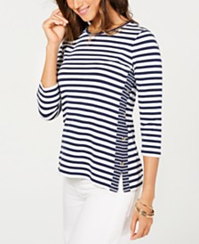 Charter Club Striped Button-Side Top, Created for Macy's