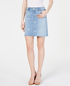 INC Polka-Dot Jean Skirt, Created for Macy's