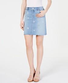 I.N.C. Polka-Dot Jean Skirt, Created for Macy's