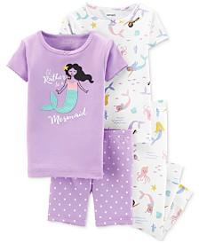 Carter's Toddler Girls 4-Pc. Cotton Mermaid Pajamas Set