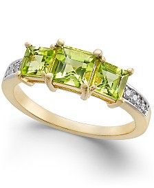 Peridot (1-1/2 ct. t.w.) & Diamond Accent Statement Ring in 14k Gold