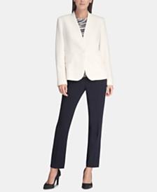 DKNY Collarless One-Button Blazer, Printed Sleeveless Top & Essex Skinny Pants