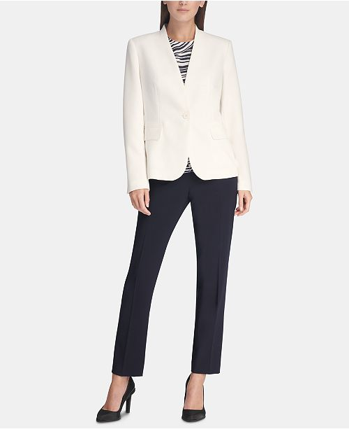 DKNY Collarless One-Button Blazer, Printed Sleeveless Top & Essex Skinny Pants