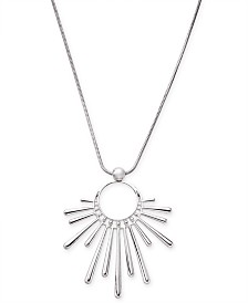 "I.N.C. Silver-Tone Sunburst Pendant Necklace, 16"" + 3"" extender, Created for Macy's"