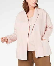 Eileen Fisher Plus Size Organic Linen Open-Front Jacket