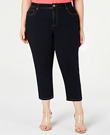 INC Plus Size Cropped Tummy-Control Jeans, Created for Macy's