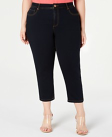 I.N.C. Plus Size Cropped Tummy-Control Jeans, Created for Macy's