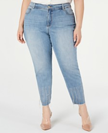 I.N.C. Plus Size Tummy-Control Embellished Jeans, Created for Macy's