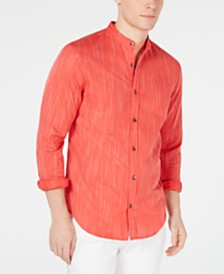 I.N.C. Men's Stripe Band-Collar Shirt, Created for Macy's
