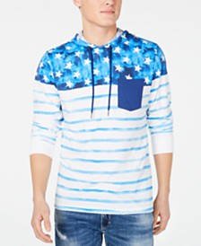 American Rag Men's Watercolor Stars & Stripe Graphic Hooded T-Shirt, Created for Macy's