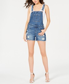 GUESS Ripped Overall Shorts