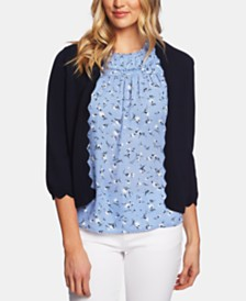 CeCe Cotton Open Front Sweater with Scalloped Detail