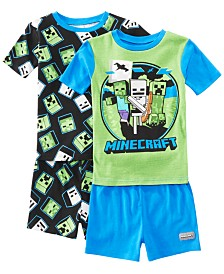 AME Little & Big Boys 2-Pack Minecraft Graphic Cotton Pajamas