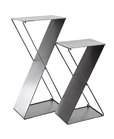 Rosemary Lane Set of 2 Modern Z-Shaped Tin Plant Stands