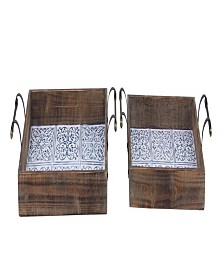 Rosemary Lane Set of 2 Farmhouse Rectangular Trays