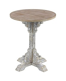 """Traditional 23"""" x 15"""" Round Wood Accent Table"""