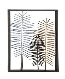 Modern Iron Framed Leaves Wall Decor