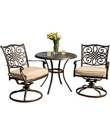 "Traditions 3-Piece Bistro Dining Set with Two Alumicast Swivel Rockers and a 32"" Round Table - 28"" x 32.6"" x 78.48"""