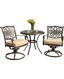 """Traditions 3-Piece Bistro Dining Set with Two Alumicast Swivel Rockers and a 32"""" Round Table - 28"""" x 32.6"""" x 78.48"""""""