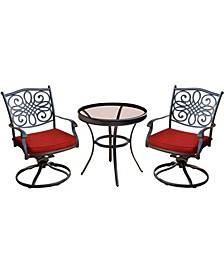 "Traditions 3-Piece Swivel Bistro Set with 30"" Glass-top Table - 29.05"" x 29.8"" x 68.54"""